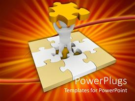 Presentation theme with white figure in center of jigsaw puzzle holds missing middle piece overhead
