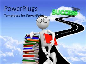 Presentation theme enhanced with white figure in glasses leaning on stack of books in road to Success