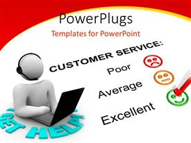 PPT layouts featuring white figure with headset and laptop next to customer service feedback form