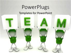 PPT theme enhanced with white figures in green uniforms holding up TEAM alphabet blocks