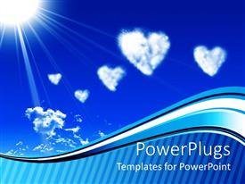 Slide set enhanced with white heart clouds and sun on blue sky with wave and stripe border, love