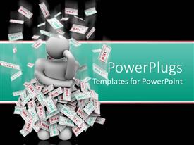 PPT theme enhanced with white human figure standing in the middle on piles of paper