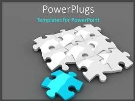 Presentation theme enhanced with white jigsaw Puzzle with a blue piece on grey background with shadow