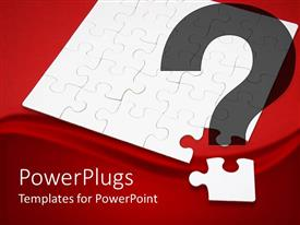 PPT layouts enhanced with white jigsaw puzzle next to corner puzzle piece in red background