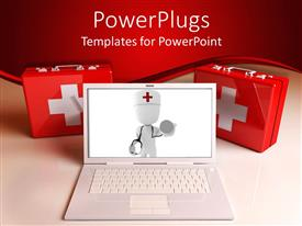 Presentation featuring white laptop with 3D white figure on screen doctor with red cross and stethoscope, two first aid kits