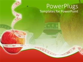 Presentation design enhanced with white measuring tape around red apple in red-green background