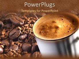 Elegant presentation theme enhanced with white mug with steaming coffee on a coffee beans background