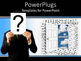 Colorful presentation design having white open door with a man holding a question mark symbol