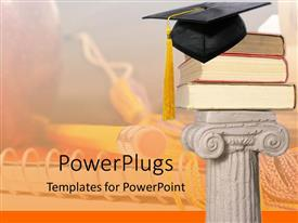 Presentation theme featuring white pillar holding three big books and a graduation cap on top
