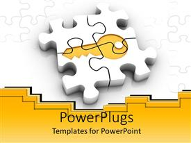 Audience pleasing presentation design featuring white puzzle pieces forming gold key, gold and white background