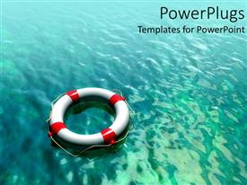 Amazing theme consisting of white and red lifesaver on teal blue water background