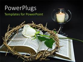 PPT theme enhanced with white Rose and crown of thorns over open bible