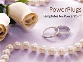 Presentation design featuring white roses rings and pearls as a metaphor for loyalty eternity love and promise on a grey background