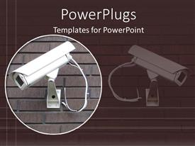 Beautiful PPT layouts with white security camera on brick wall in brown background
