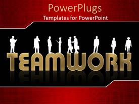 PPT theme consisting of white silhouettes of people standing on the word team work