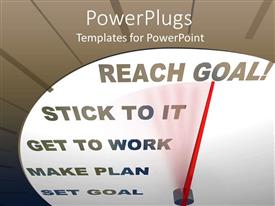 Colorful slide set having white speedometer with a red pointer pointing at reach goal text