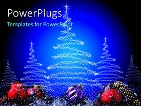 PPT theme featuring white stars arranged in Christmas tree shapes with blue background