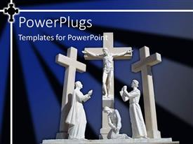 Presentation design having white statue of Christ on cross surrounded by three people