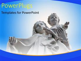 PPT theme having a white statue of Mother Mary and Baby Jesus