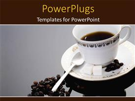 Presentation design featuring a white tea cup and saucer with coffee beans