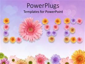 Presentation design with a whole lot of colorful flowers creating the word love