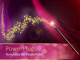 Colorful presentation theme having wine background and magic wand with golden stars
