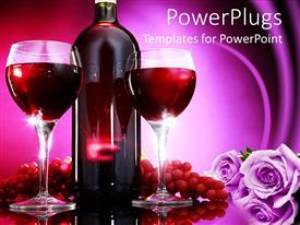 Elegant presentation design enhanced with wine bottle between two glasses, grapes, lavender flowers