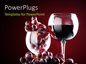 Presentation theme with wine glass with red wine and red grapes over a dark maroon background