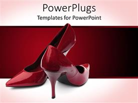 Amazing PPT theme consisting of wine and red background with a pair of red stiletto heel shoes