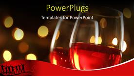 Presentation theme having wineglass with red illuminated defocused christmas lights