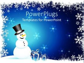 Presentation enhanced with winter theme with happy smiling snowman and blue gift boxes with silver ribbons on snowflake setting and blue background