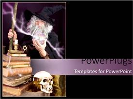 Presentation theme having wizard holding lightening magic orb ball with magical books and skull