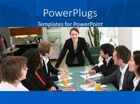 Presentation having woman in black power suit leads business meeting