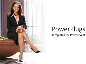 Amazing presentation design consisting of woman in business attire sitting with legs crossed