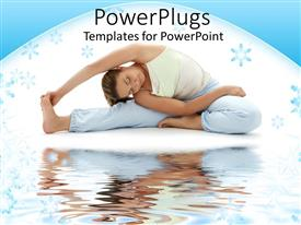 Presentation design with woman doing seated yoga pose next to water body in white background