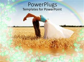 Colorful PPT theme having woman doing yoga in meadow with rainbow overhead in field with water