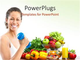 Presentation design featuring woman fitness working out exercise health with fresh fruitsand vegetables