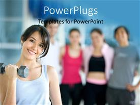 Top fitness powerpoint templates backgrounds slides and ppt themes colorful ppt layouts having woman at the gym exercising with free weights along with group of template size toneelgroepblik Images