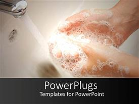 Presentation design with woman hands with soapsuds under running water washing hands in white sink