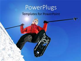 Beautiful PPT theme with a woman happy while skiing and sky in the background