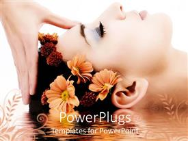 PPT theme with woman head receiving massage, flowers in hair, reflecting in water