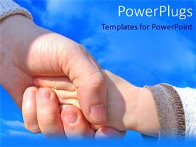Audience pleasing presentation design featuring woman holding a child's hand with blue cloudy sky in background