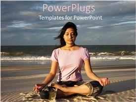 Elegant presentation theme enhanced with woman meditating on beach at sunrise, meditation, yoga