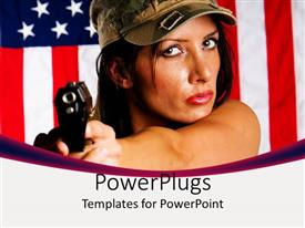 PPT layouts having woman in military hat holding gun with US flag in background