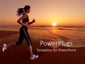 Colorful presentation theme having woman running on a beach with beautiful sunset