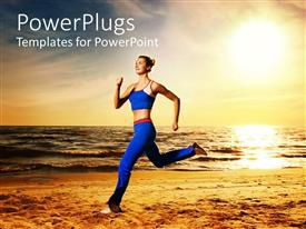 Elegant presentation theme enhanced with woman running on beach at sunset, fitness, exercise, health