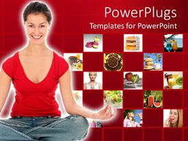 Presentation theme featuring woman smiling as she does yoga with collage of fruits for diet