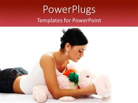 Audience pleasing presentation design featuring woman wearing silver earrings and white tank top laying with stuffed rabbit