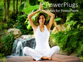 Elegant presentation theme enhanced with woman wearing white in meditative seated yoga pose
