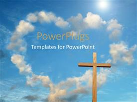 PPT theme enhanced with wooden cross with cloud forming heart shape in blue sky